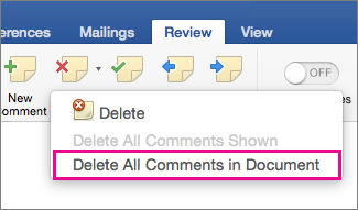 On the Review tab, Delete All Comments in Document is highlighted