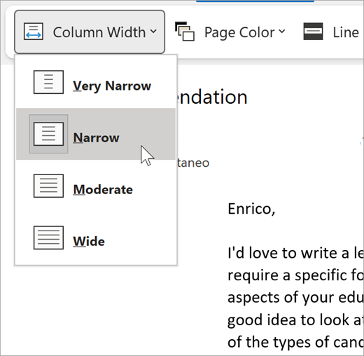 screenshot of the column width dropdown for immersive reader, options are very narrow, narrow, moderate, wide
