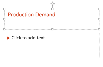 Shows adding text to a text field in PowerPoint