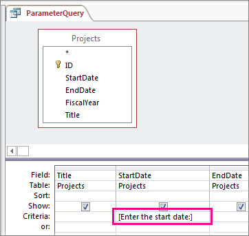 Use parameters to ask for input when running a query - Access
