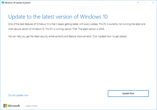 "Windows 10 version 1809 dialog, notifying the user to ""Update to the latest version of Windows 10"""