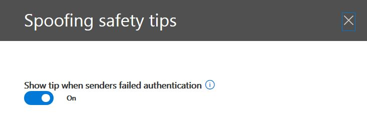Enable or disable antispoofing safety tips