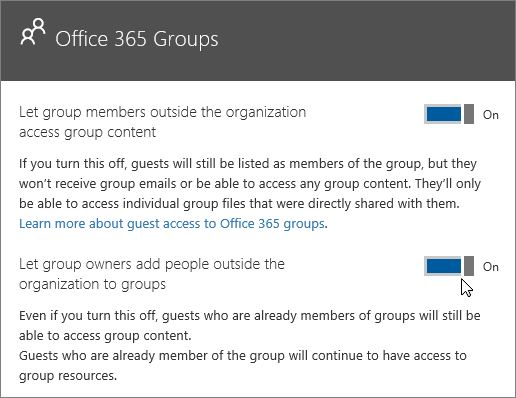 Screenshot shows the Office 365 Groups panel with the options turned on to let group members outside the organization access group content and to let group owners add people outside the organization to groups.