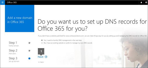Choose Next after you decide whether you want Office 365 to set up DNS records