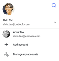 screenshot with the option to switch account, add account or manage my accounts