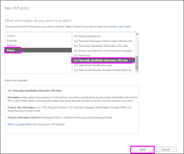 New DLP policy dialog with U.S. PII Data policy template highlighted
