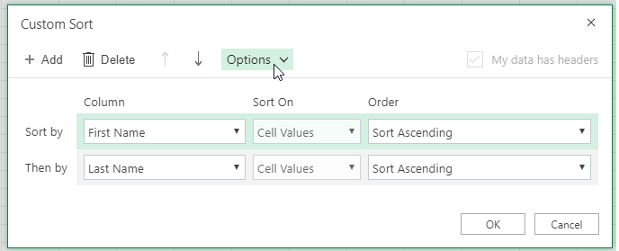 Custom sort dialog with the option button selected