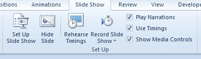 Slide Show tab, Set Up group