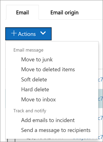When you select one or more email messages, you can choose from several available actions