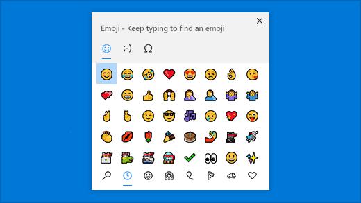 Shortcut emoji panel