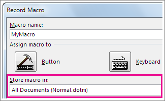 Box for choosing where to store a macro