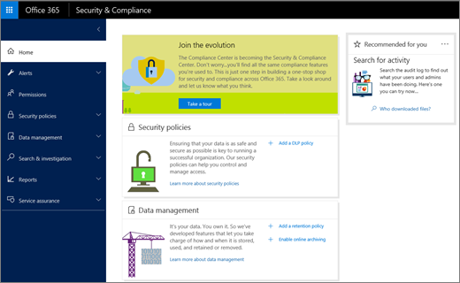 Screenshot of Office 365 Security & Compliance Center home page.