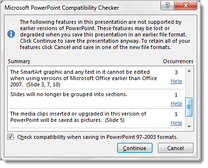 use compatibility mode to work with different versions of powerpoint