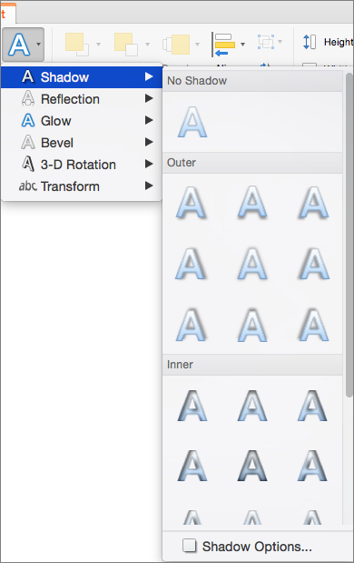 Shadow options on the Text Effects menu