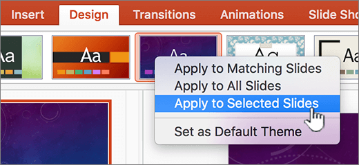 Drop down menu with Apply to selection highlighted