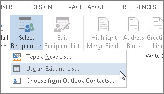 Screenshot of the Mailings tab in Word, showing the Select Recipients command with the Use an Existing List option selected.