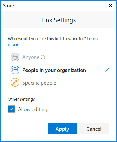 Showing Link Settings to set permissions