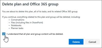 The delete plan confirmation dialog box