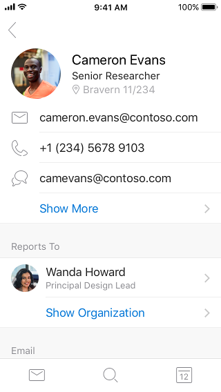 Contact card examples showing contact information and additional information