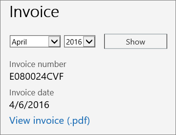 Screen shot of the Invoice section of the Bill Details page in the Office 365 Admin Center.