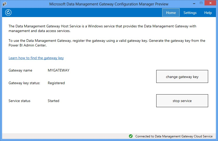 Data Management Gateway Configuration Manager - Home Page