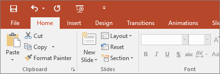 Shows the colorful themed ribbon in PowerPoint 2016