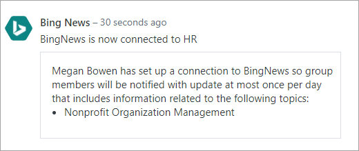 Screenshot of Office 365 connected Yammer group with new connection
