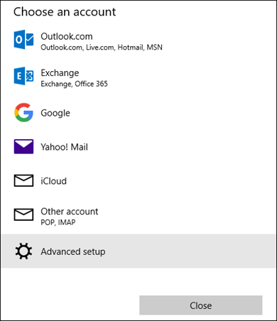 Choose an account dialog box, which shows a list of email services.