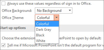 Shows Office Theme options in PowerPoint 2016