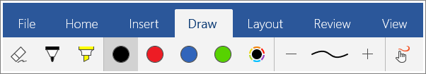 Screenshot of the Draw tab in Word Mobile for Windows 10