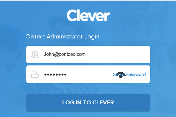 Enter your Clever district administrator credentials