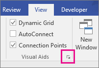Launcher for the Snap & Glue dialog box in Visio 2016