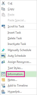 Right-click menu for tasks