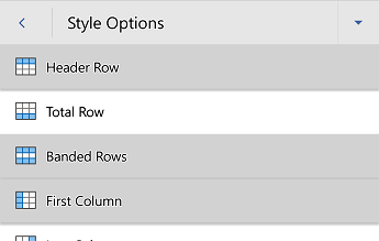 Word for Android table style options menu