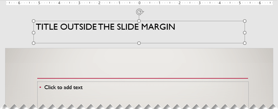 A slide title placed outside the visible slide margin.