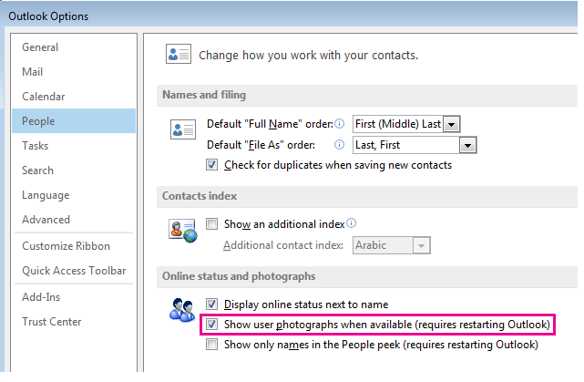 Screenshot of Outlook Options window with Enable photos checkbox highlighted
