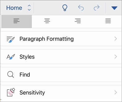 Screenshot of the Sensitivity button in Office for iOS