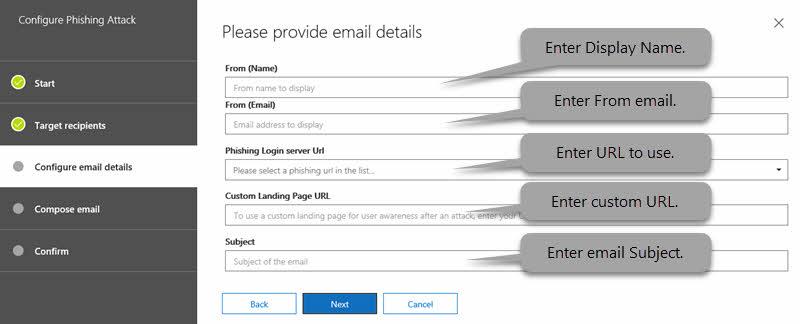 Configure email details