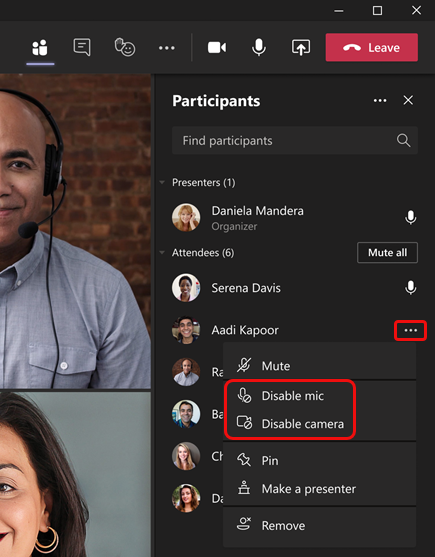 Select Disable mic or Disable camera