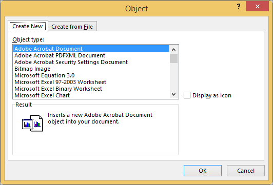 Create New tab in the Object dialog box