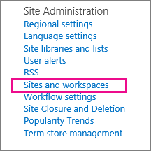 Sites and workplaces section of the Site Settings page