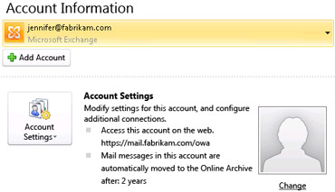 Exchange account settings in the Backstage view including OWA and Online Archive information
