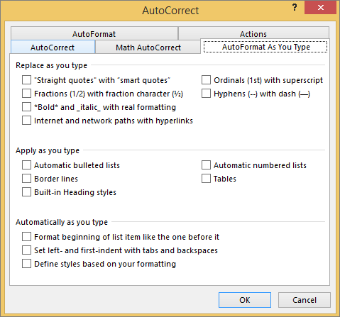 The AutoFormat As You Type tab with options deselected