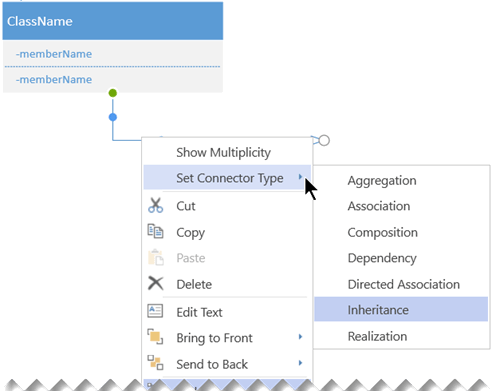 Right-click a connector and select Set Connector Type to see the options for connector types.