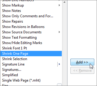 Shrink One Page command