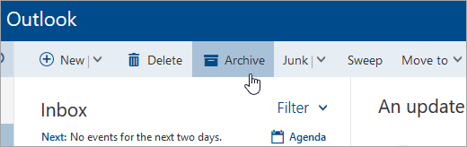 A screenshot of the Archive button