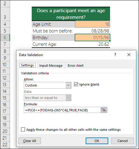 Data validation example to restrict an entry to a minimum age