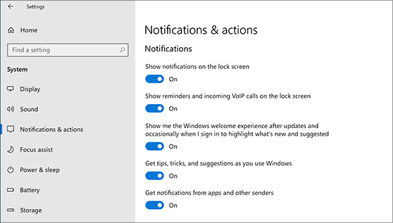 Notification settings that can be turned on or off