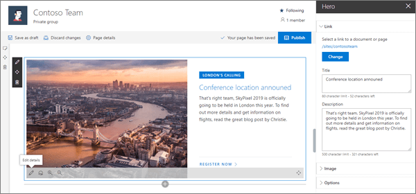 Hero web part in sample modern Team site in SharePoint Online