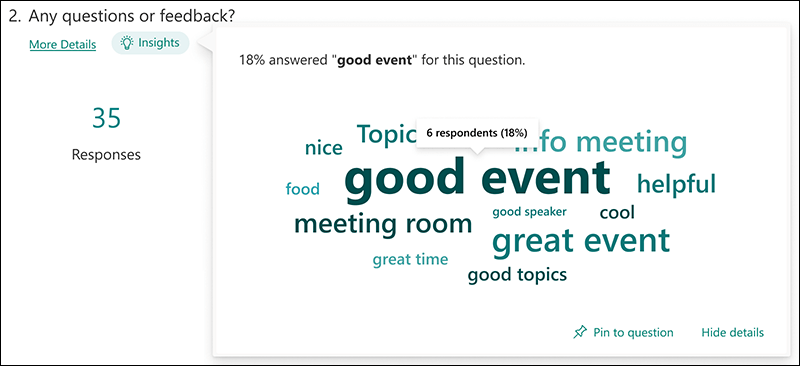Word cloud insights example for Microsoft Forms